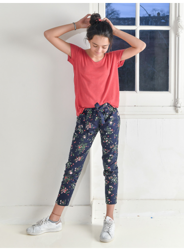 Pantalon Cléo fleurs marine