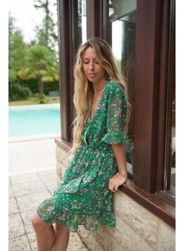Robe Melodie green print