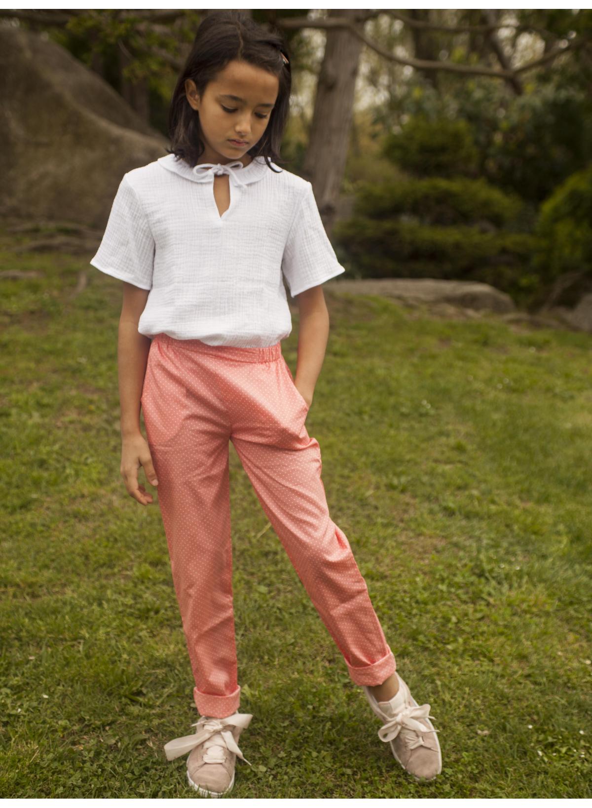 Pantalon Colette rose pois