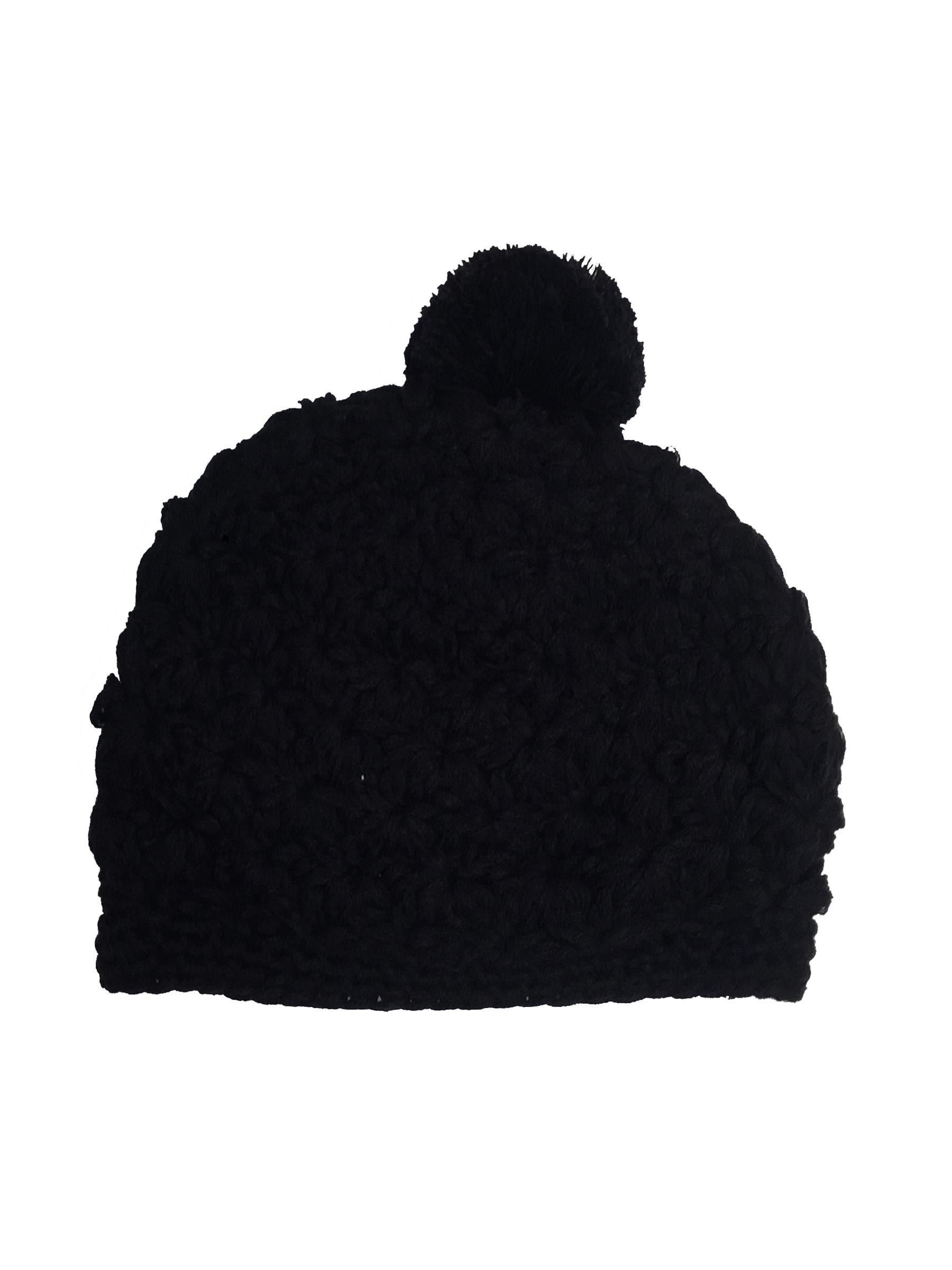 Bonnet noir laine pompon