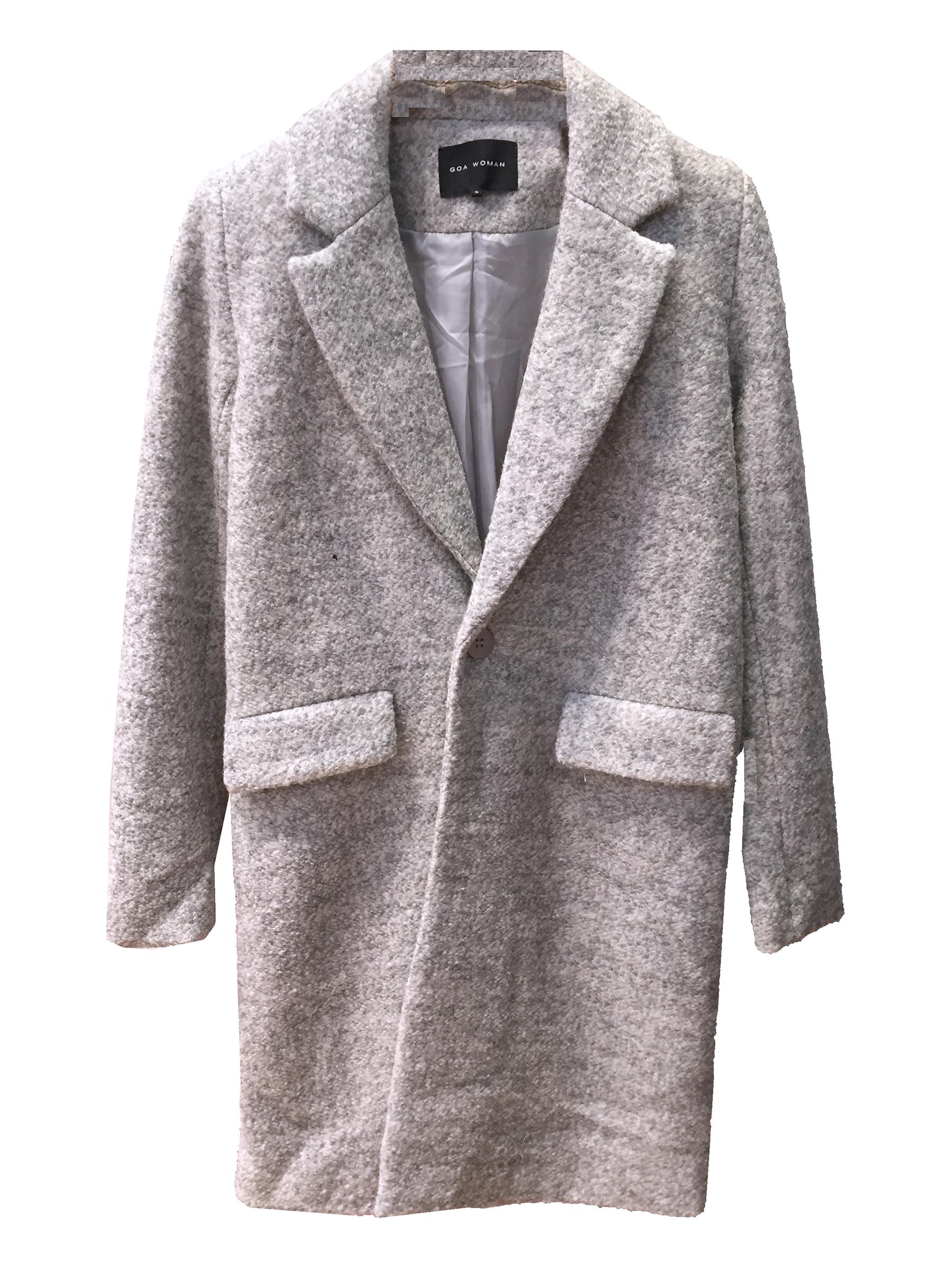 Manteau droit en laine élégant gris
