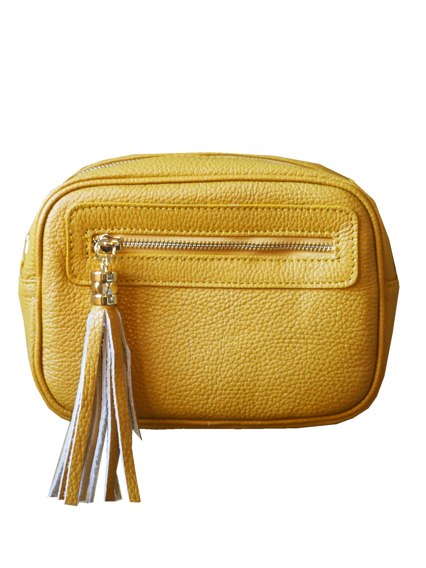 sac à main pochette bandoulière pompon cuir jaune safran
